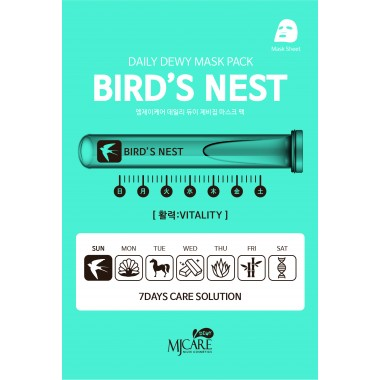 """МАСКА ТКАНЕВАЯ C ЭКСТРАКТОМ ЛАСТОЧКИНОГО ГНЕЗДА """"ЕЖЕДНЕВНЫЙ УХОД"""" MJ CARE Daily Dewy Mask Pack Bird's Nest"""